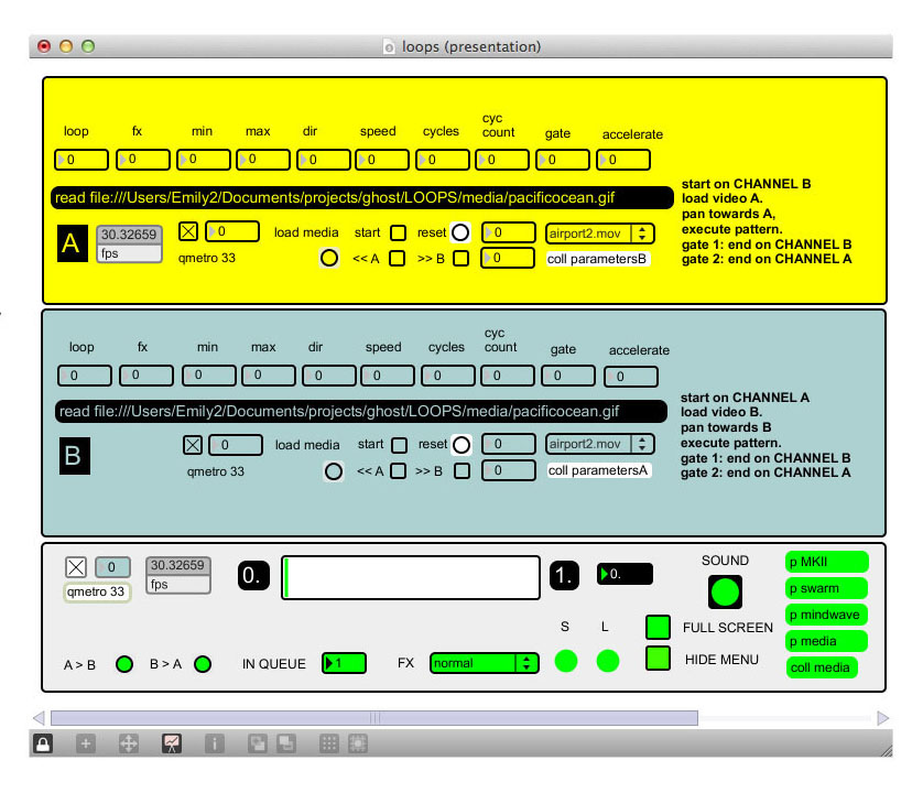 view of video mixer user interface