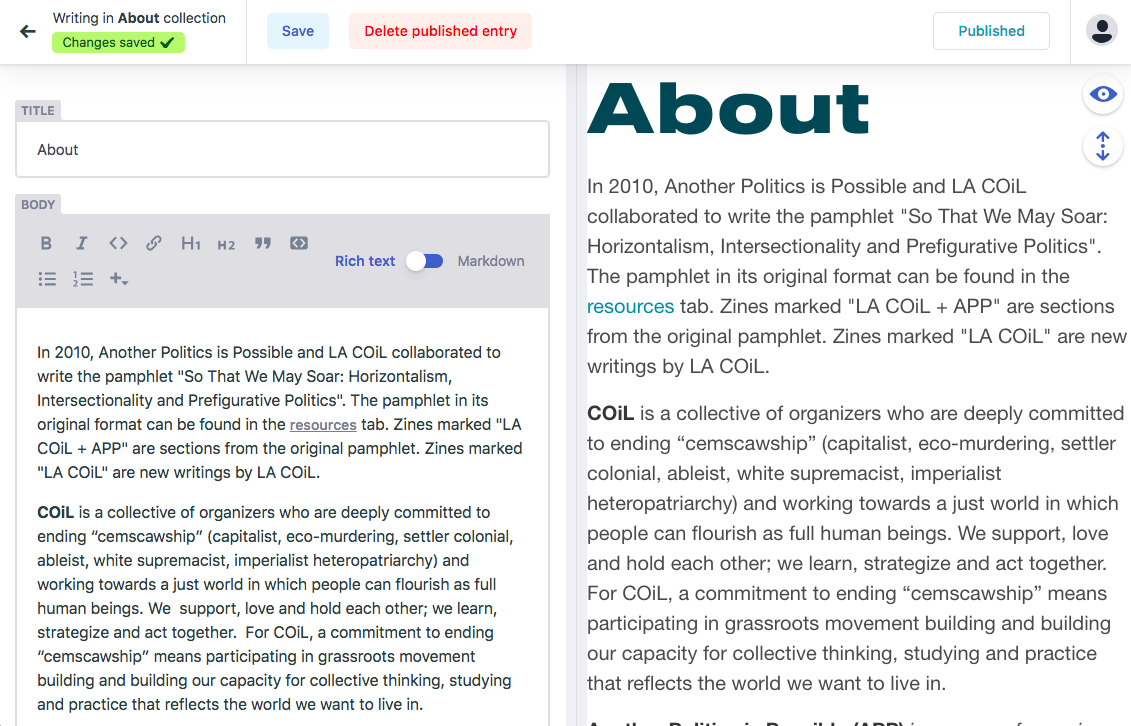 CMS, view of individual page in edit mode