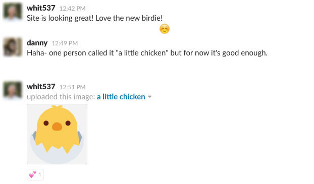 "conversation on Slack channel about the ""hatching chick"" emoji"